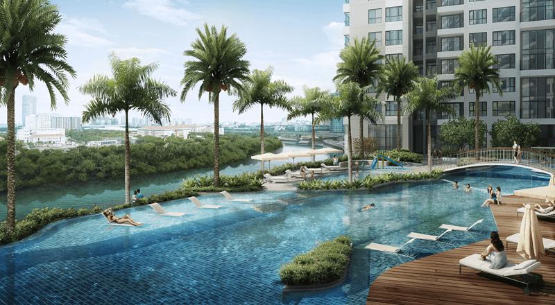 Hồ bơi dự án căn hộ The View Riviera Point quận 7.
