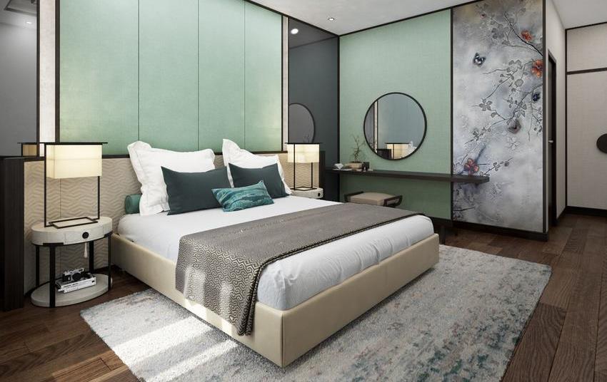 Phòng ngủ chính căn hộ mẫu The View Riviera Point quận 7.