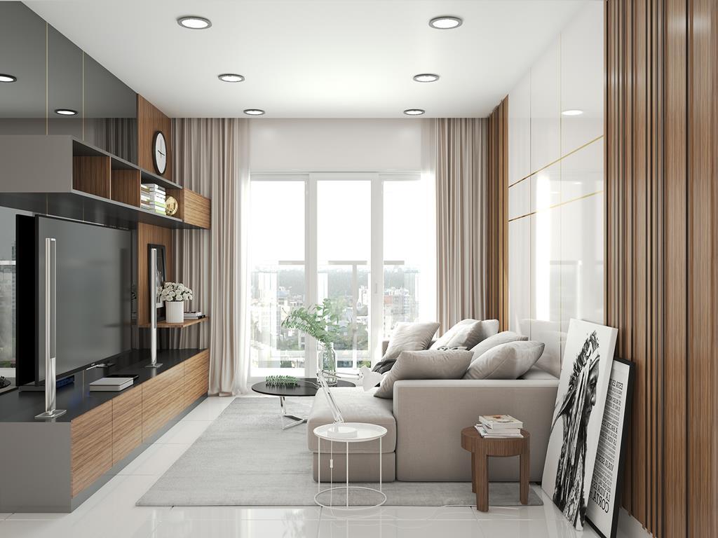 Căn hộ mẫu The Infiniti Riviera Point quận 7 - Phòng khách.