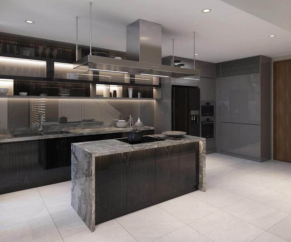 Phòng bếp căn hộ mẫu thông tầng Duplex tại dự án The Infiniti at Riviera Point.