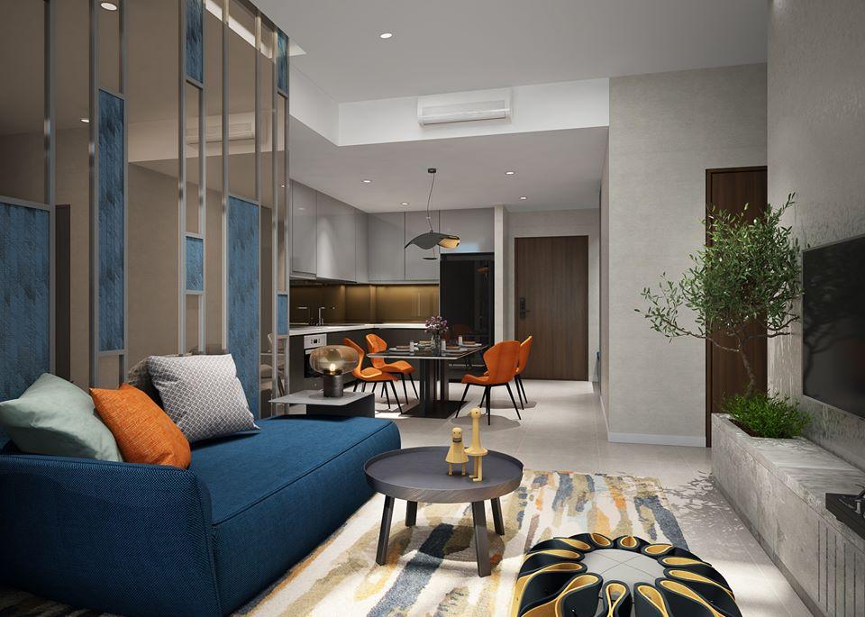 Phòng khách căn hộ 2PN tại dự án The Infiniti at Riviera Point.