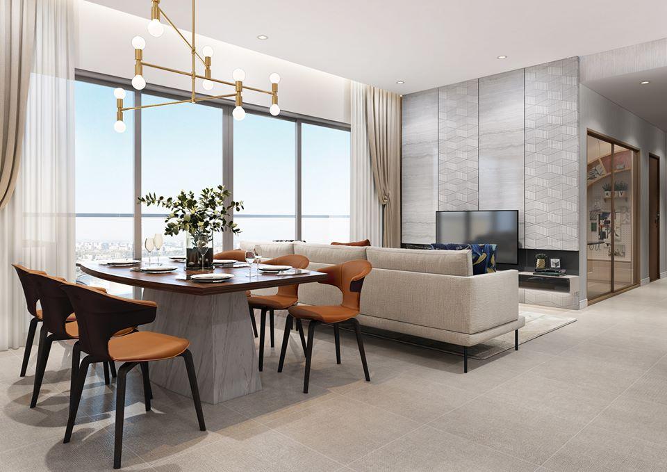 Phòng khách căn hộ 3PN mẫu tại dự án The Infiniti at Riviera Point.