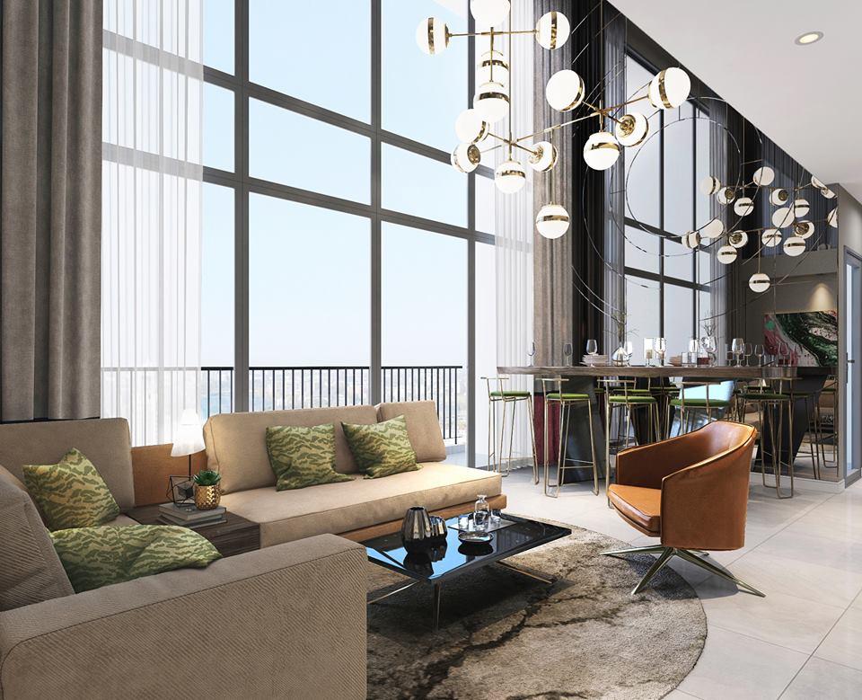 Phòng khách căn hộ mẫu thông tầng Duplex tại dự án The Infiniti at Riviera Point.