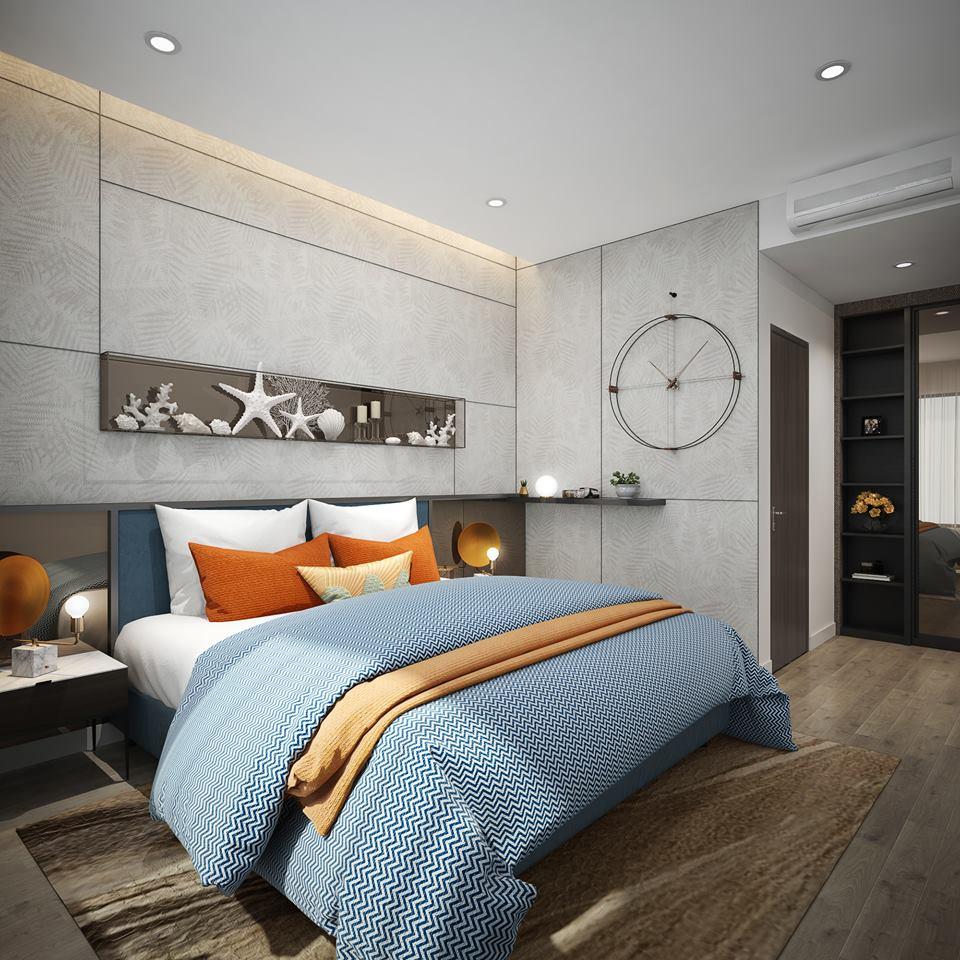 Phòng ngủ căn hộ 2PN mẫu tại dự án The Infiniti at Riviera Point.