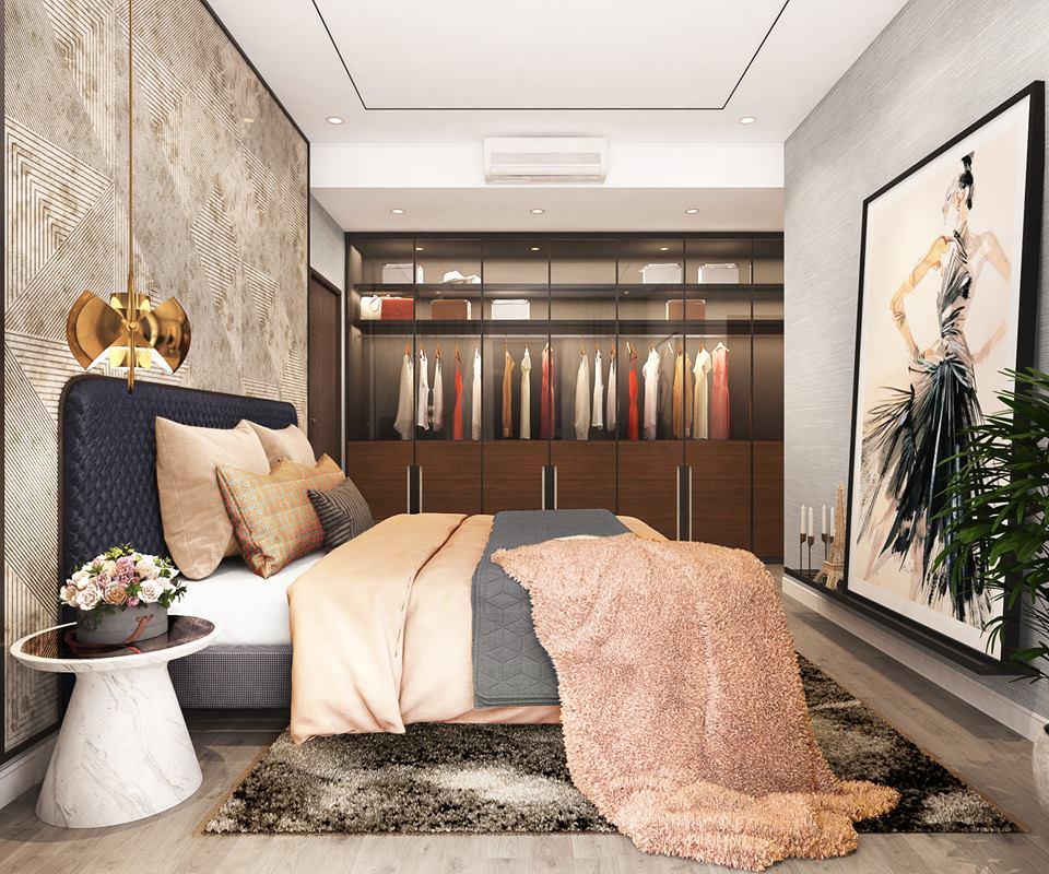 Phòng ngủ căn hộ 3PN mẫu tại dự án The Infiniti at Riviera Point.
