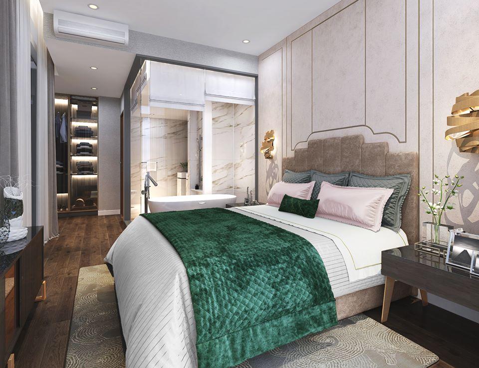 Phòng ngủ căn hộ mẫu thông tầng Duplex tại dự án The Infiniti at Riviera Point.
