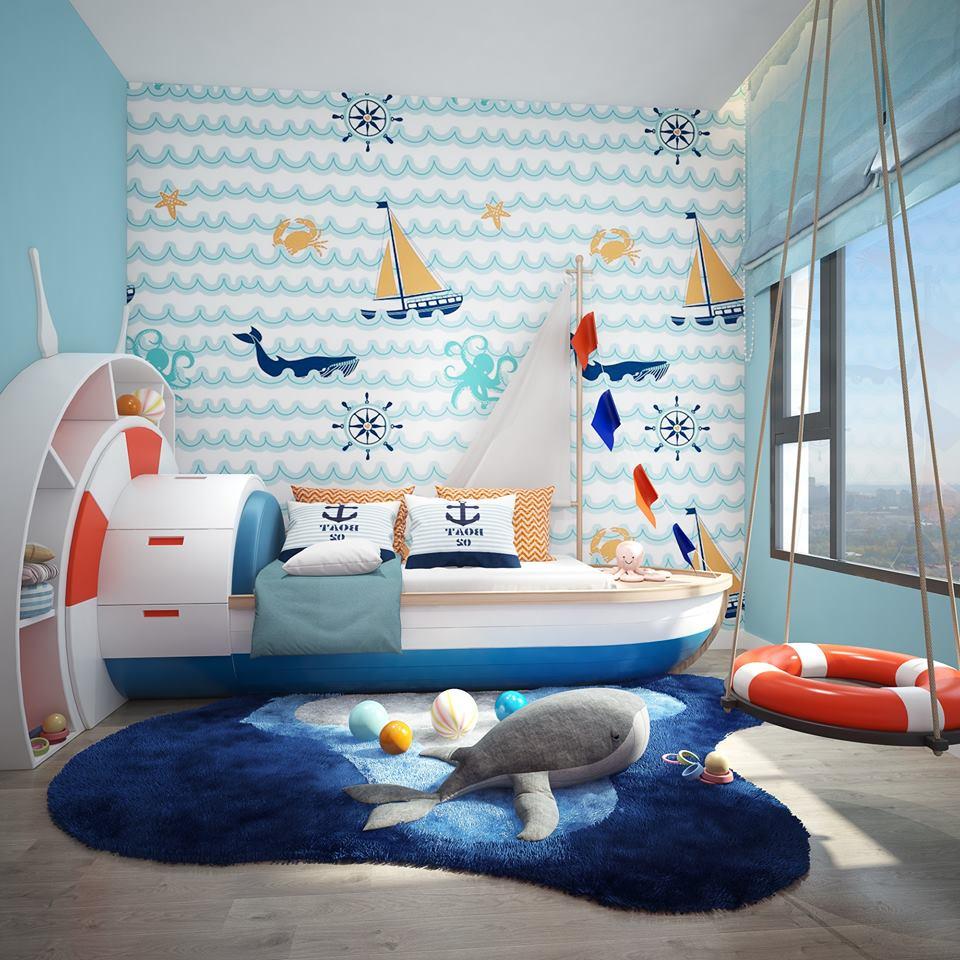 Phòng ngủ trẻ em căn hộ 2PN mẫu tại dự án The Infiniti at Riviera Point.