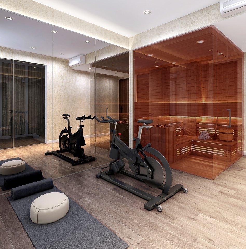 Phòng tập thể dục căn hộ mẫu thông tầng Duplex tại dự án The Infiniti at Riviera Point.
