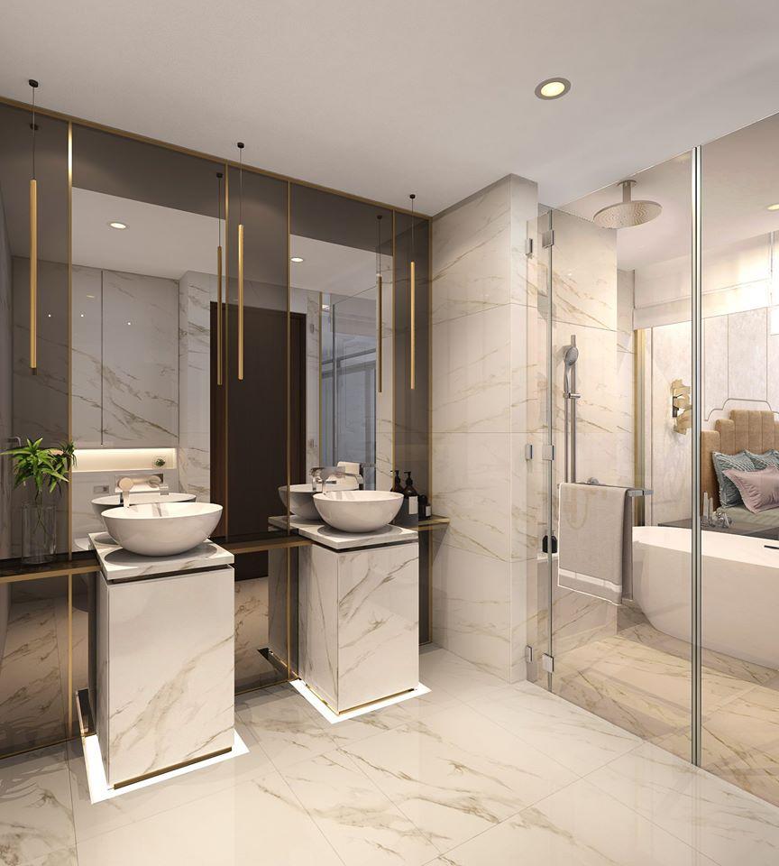 Phòng tắm căn hộ mẫu thông tầng Duplex tại dự án The Infiniti at Riviera Point.