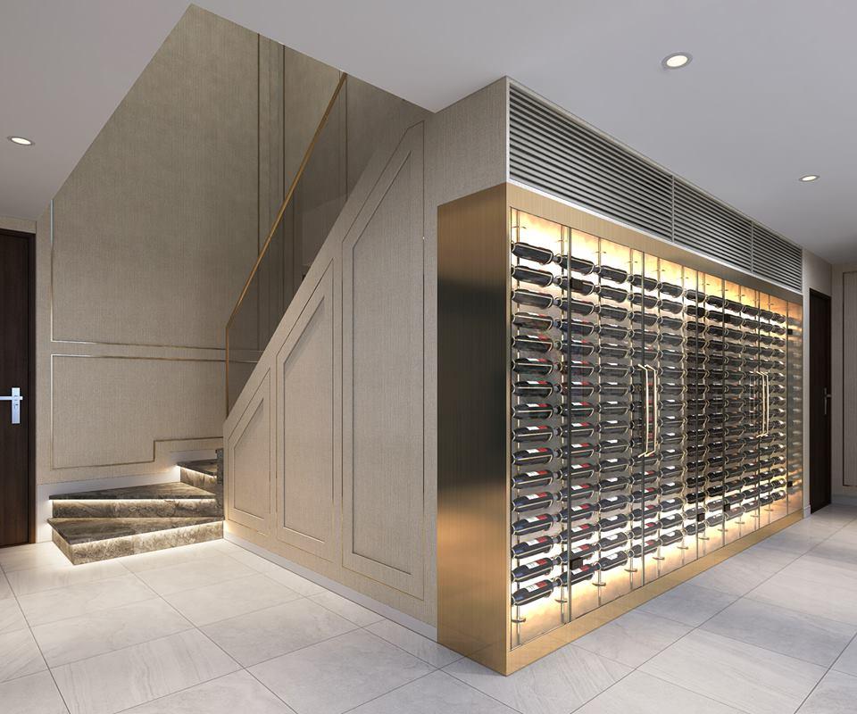 Tủ rượu căn hộ mẫu thông tầng Duplex tại dự án The Infiniti at Riviera Point.
