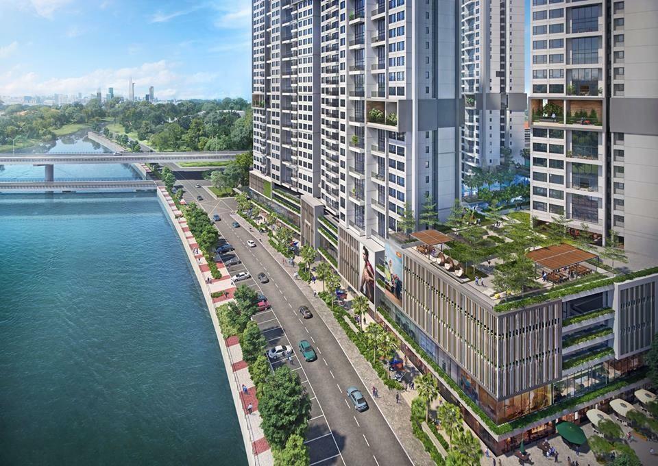Hướng nhìn từ sông Cả Cấm dự án căn hộ The Infiniti Riviera Point quận 7.