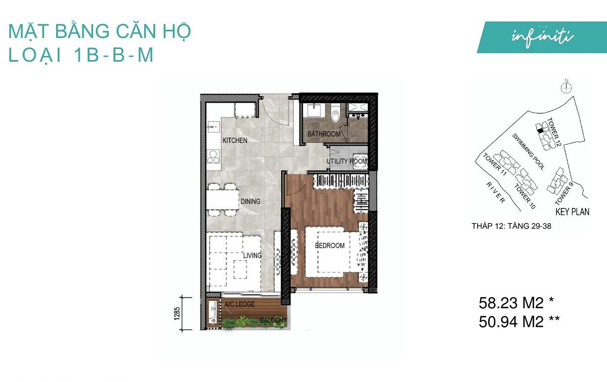 Mặt bằng căn hộ The Infiniti Riviera Point loại 1 phòng ngủ (1PN) 1B-B-M