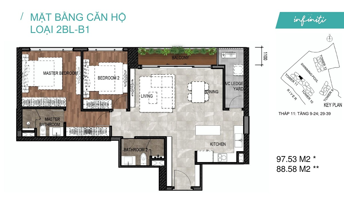 Mặt bằng căn hộ The Infiniti Riviera Point loại 2 phòng ngủ (2PN) 2BL-B1