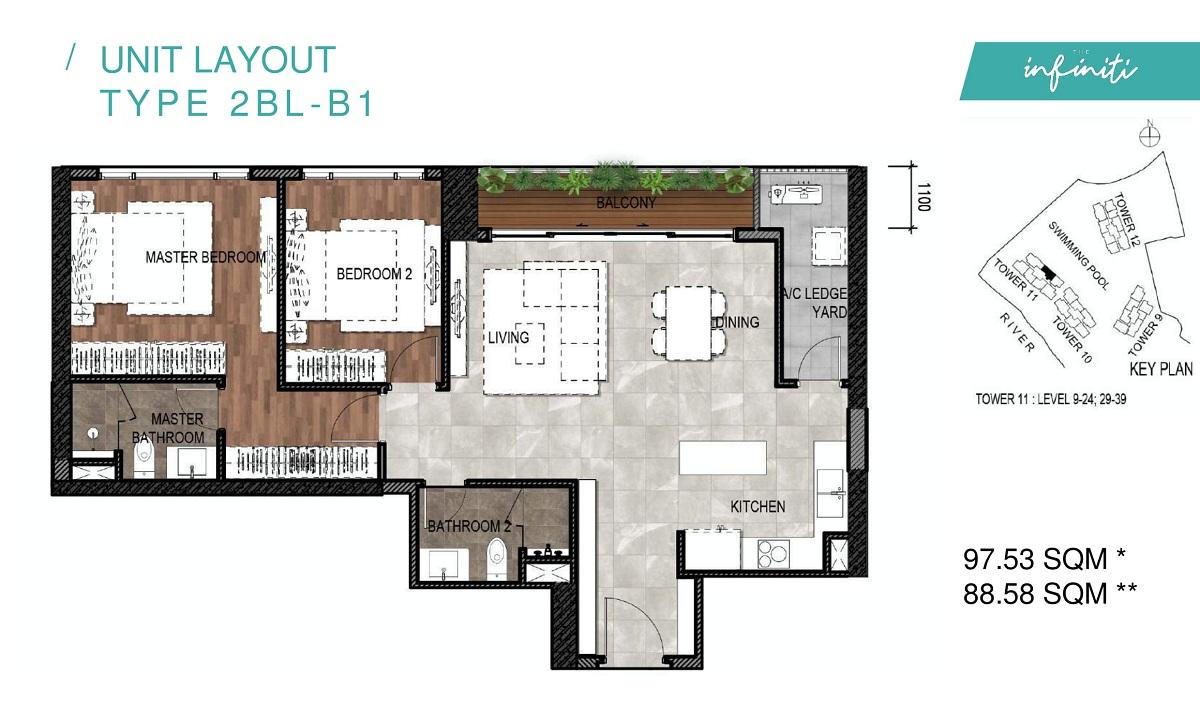 Mặt bằng căn hộ The Infiniti Riviera Point loại 2 phòng ngủ (2PN) 2BL-B1.