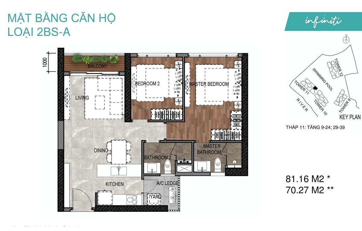 Mặt bằng căn hộ The Infiniti Riviera Point loại 2 phòng ngủ (2PN) 2BS-A