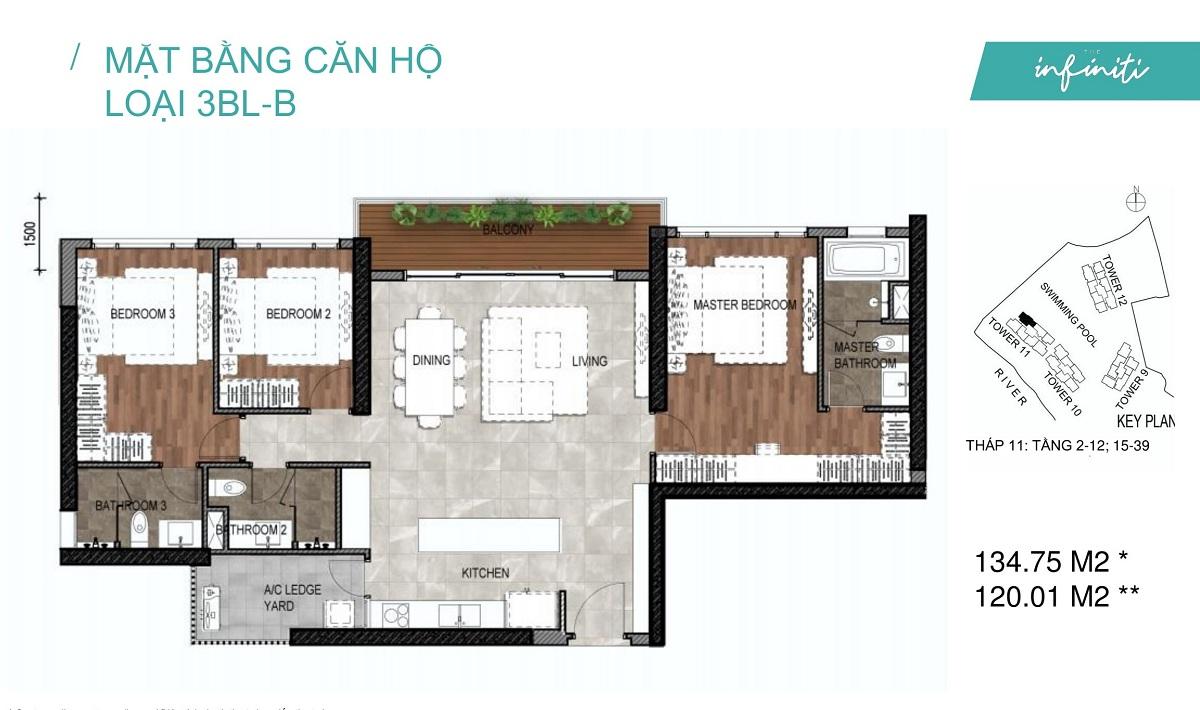 Mặt bằng căn hộ The Infiniti Riviera Point loại 3 phòng ngủ (3PN) 3BL-B
