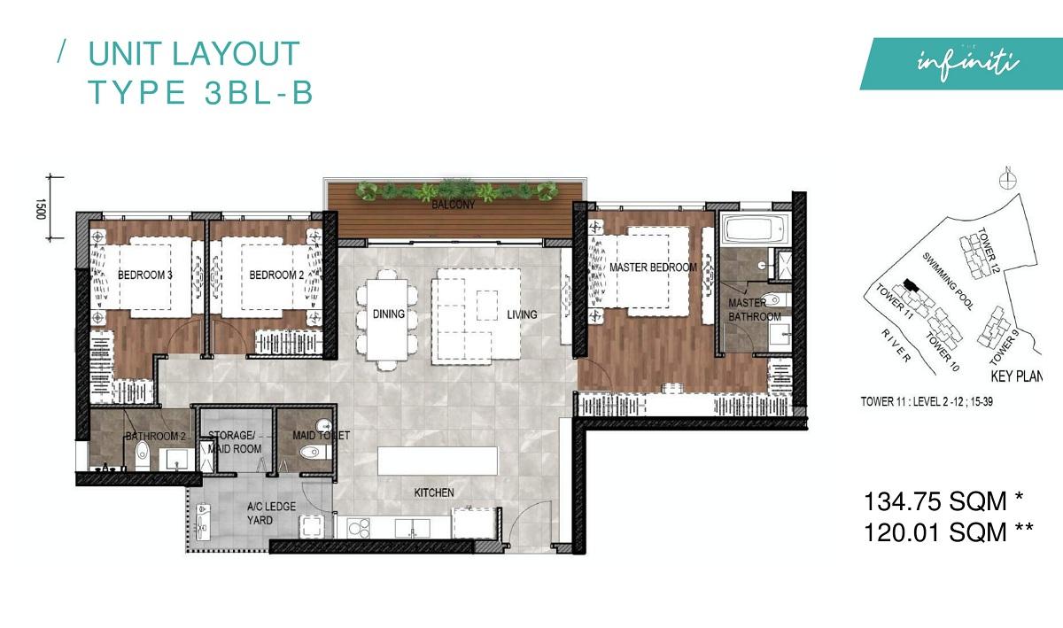 Mặt bằng căn hộ The Infiniti Riviera Point loại 3 phòng ngủ (3PN) 3BL-B.