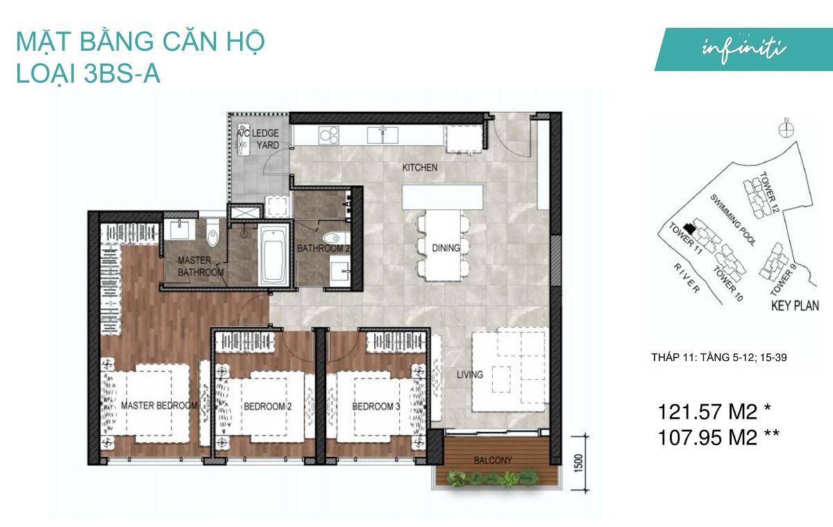 Mặt bằng căn hộ The Infiniti Riviera Point loại 3 phòng ngủ (3PN) 3BS-A