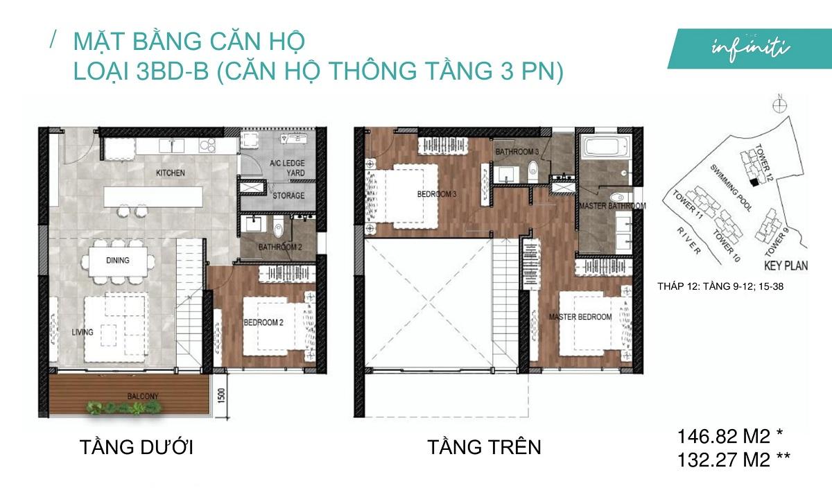 Mặt bằng căn hộ The Infiniti Riviera Point loại thông tầng Duplex 3 phòng ngủ (3PN) 3BD-B
