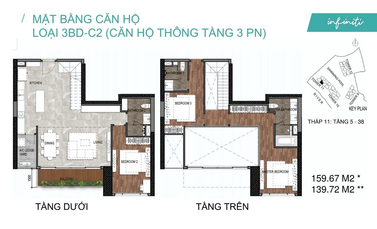Mặt bằng căn hộ The Infiniti Riviera Point loại thông tầng Duplex 3 phòng ngủ (3PN) 3BD-C2