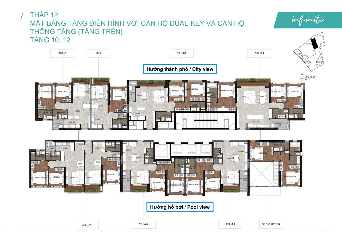 Mặt bằng căn hộ The Infiniti at Riviera Point THÁP 12 Lầu 10, 12 - Duplex tầng trên.