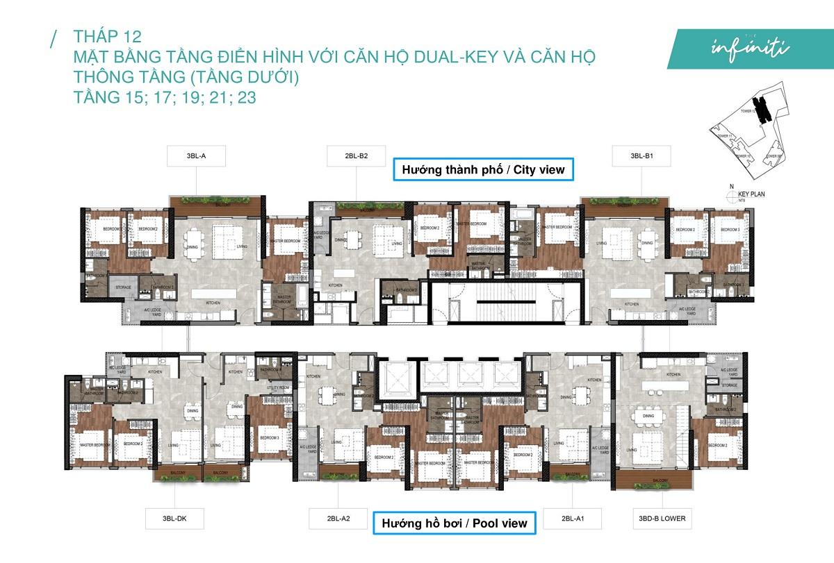 Mặt bằng căn hộ The Infiniti at Riviera Point THÁP 12 Lầu 15 17 19 21 23 - Duplex tầng dưới.