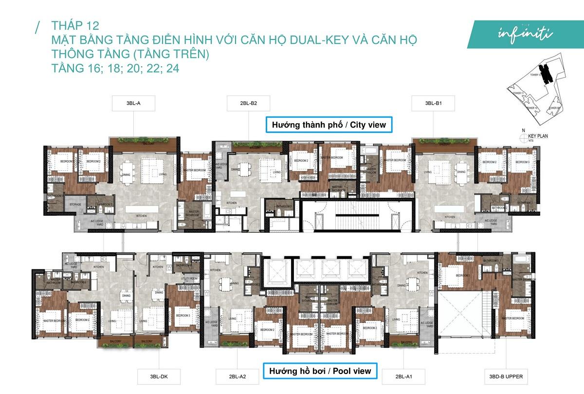 Mặt bằng căn hộ The Infiniti at Riviera Point THÁP 12 Lầu 16 18 20 22 24 - Duplex tầng trên.