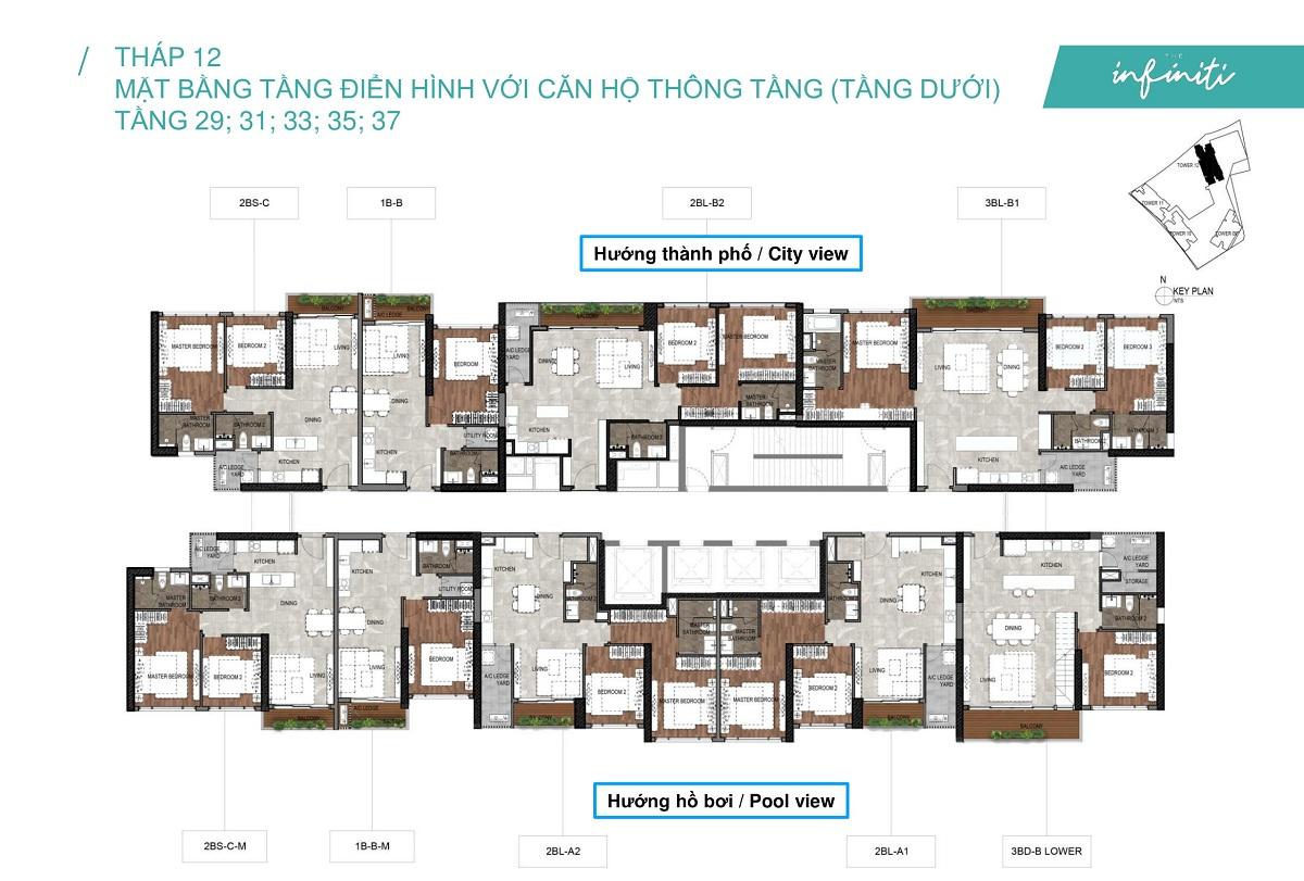 Mặt bằng căn hộ The Infiniti at Riviera Point THÁP 12 Lầu 29 31 33 35 37 - Duplex tầng dưới.