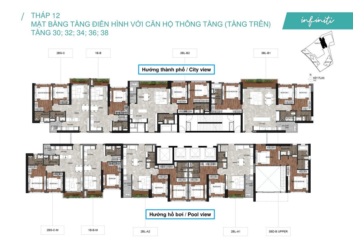 Mặt bằng căn hộ The Infiniti at Riviera Point THÁP 12 Lầu 30 3234 36 38 - Duplex tầng trên.