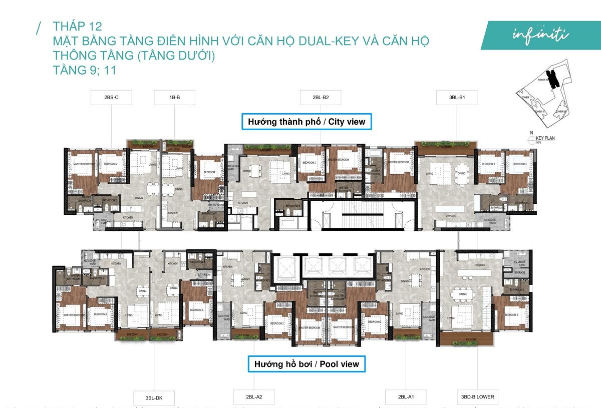 Mặt bằng căn hộ The Infiniti at Riviera Point THÁP 12 Lầu 9, 11 - Duplex tầng dưới.