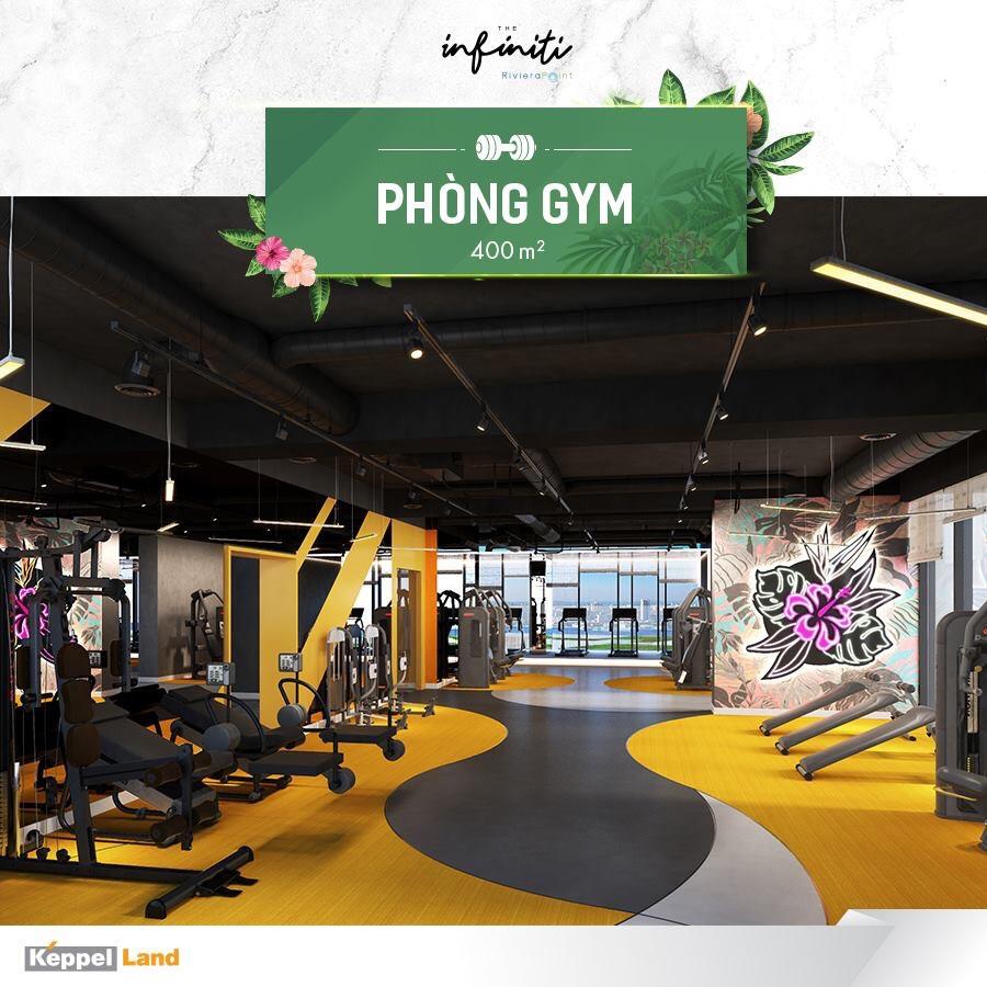 Một góc Phòng gym 400m2 tại căn hộ The Infiniti at Riviera Point quận 7.
