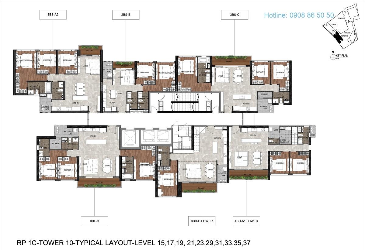 Mặt bằng căn hộ The Infiniti Riviera Point Tháp T10 - Lầu 15,17,19,21,23, 29,31,33,35, 37.