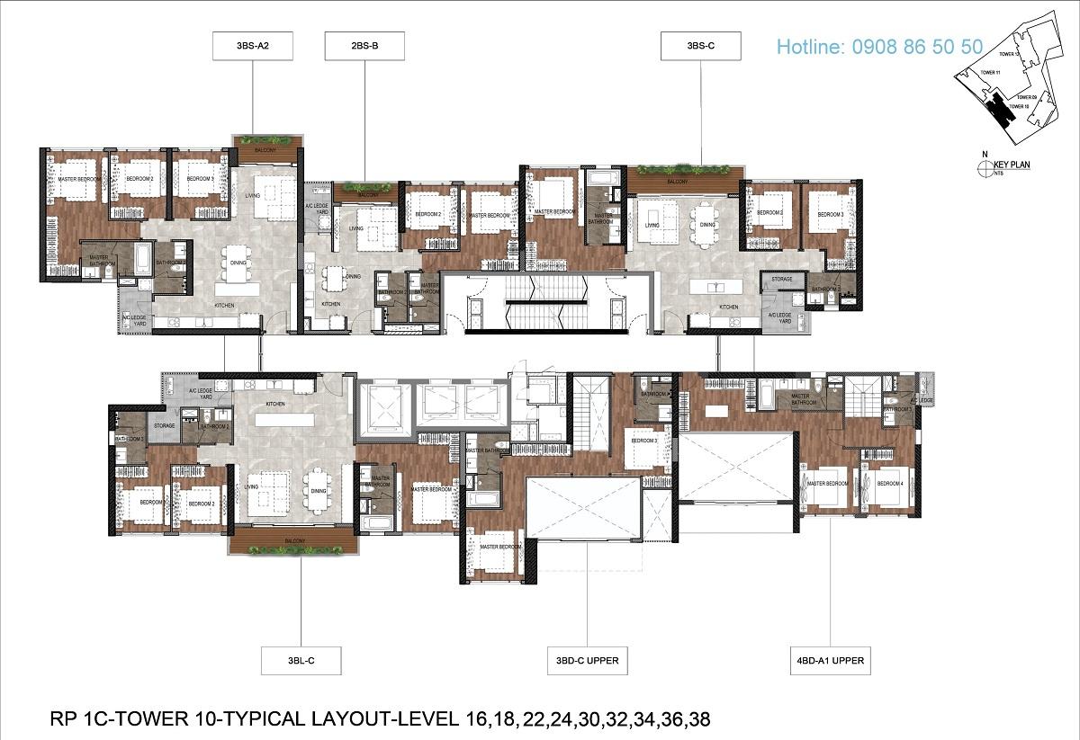 Mặt bằng căn hộ The Infiniti Riviera Point Tháp T10 - Lầu 16,18,22,24,30,32,34,36,38.