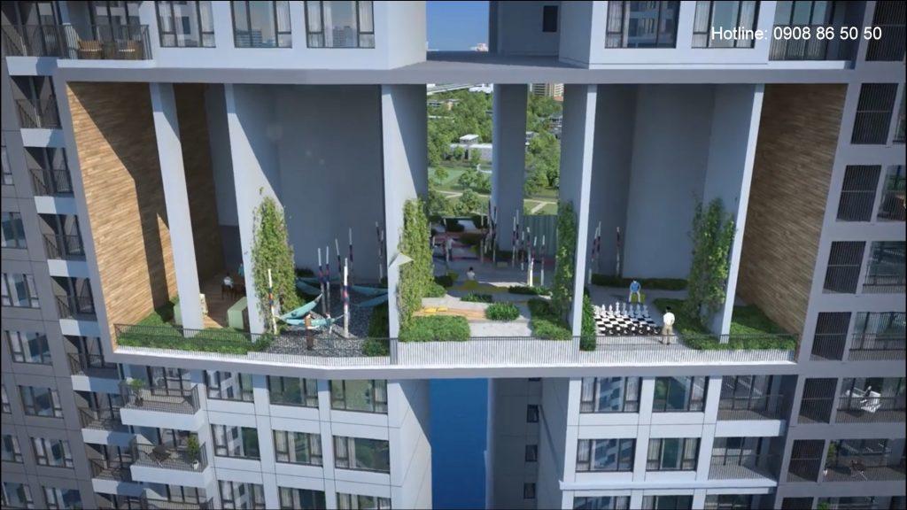 Cận cảnh Vườn chân mây Sky Garden tại căn hộ Infiniti Riviera Point quận 7.