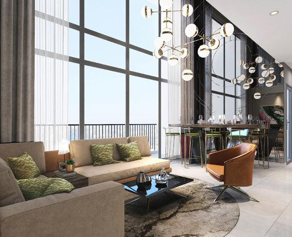 Thiết kế phòng khách tại căn hộ The Loft Riviera Point quận 7 - Keppel land.