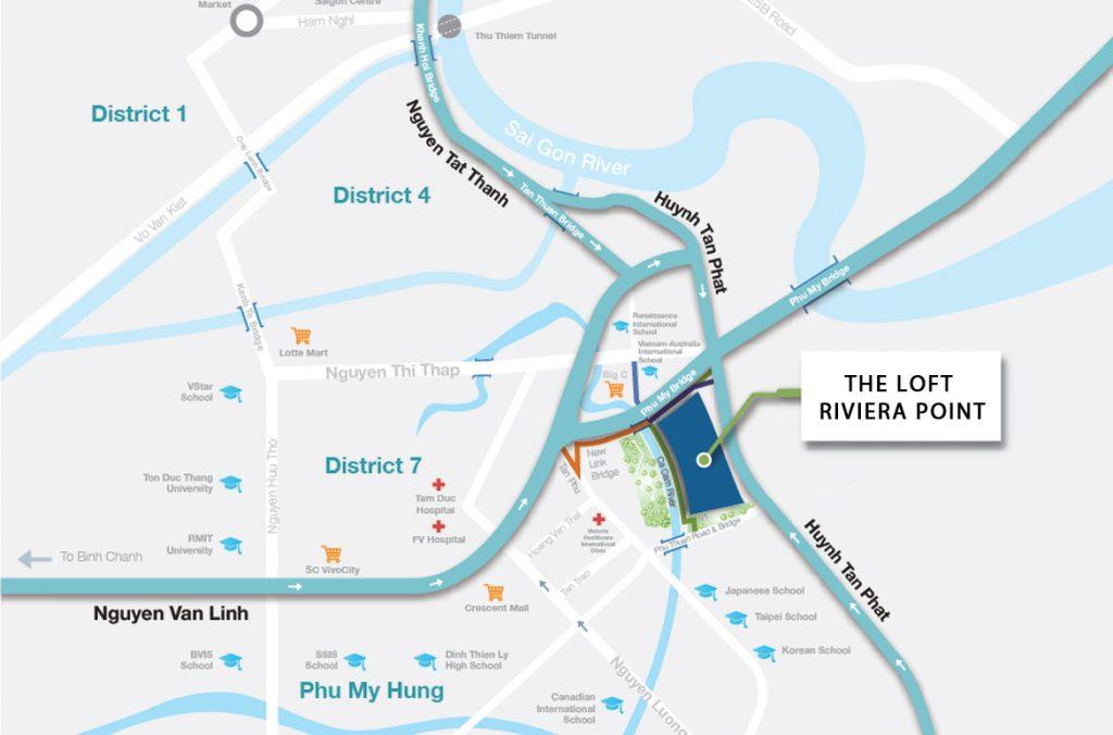 Vị trí địa chỉ dự án căn hộ The Lofts Riviera Point quận 7.