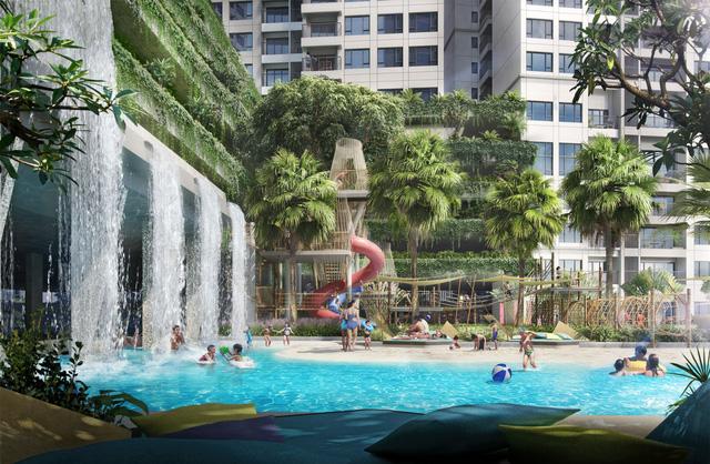 The Infiniti at Riviera Point mang đến khu vui chơi nước nội khu lớn nhất quận 7 với hơn 1.700 m2 mặt nước thư giãn (Phối cảnh).